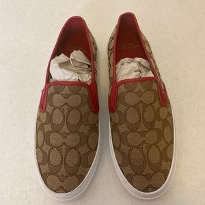 SIGNATURE RED LEATHER SLIP ON BY COACH * 9.5 *